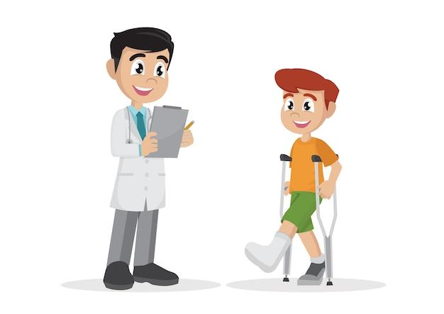 Le garçon avec une jambe plâtrée et des béquilles à côté du médecin.