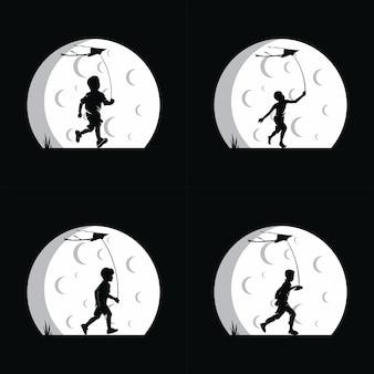 Un garçon jouant au cerf-volant avec fond de lune