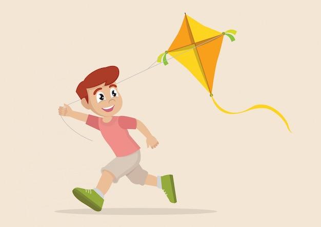 Garçon jouant au cerf-volant.
