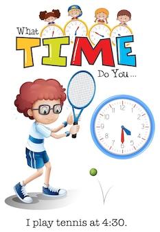 Un garçon jouant au tennis à 4h30
