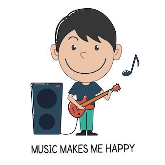 Garçon jouant de la guitare. la musique me rend heureux