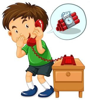 Un garçon lance un appel à la bombe