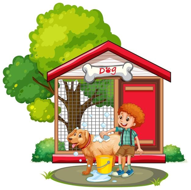 Garçon lavant le chien avec du shampoing