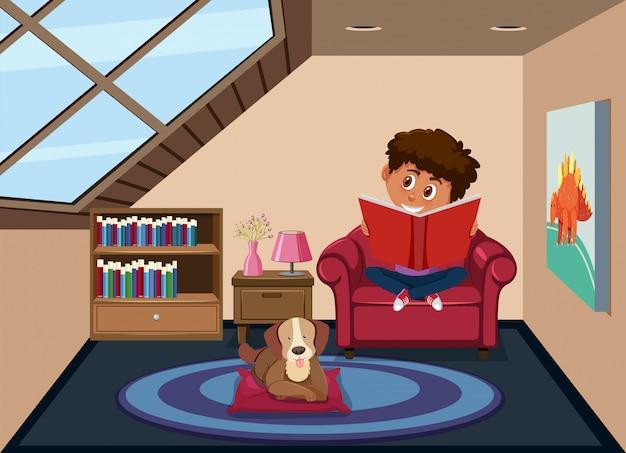 Garçon lisant dans la chambre