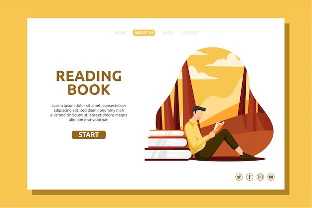 Garçon lisant un livre dans le jardin d'automne