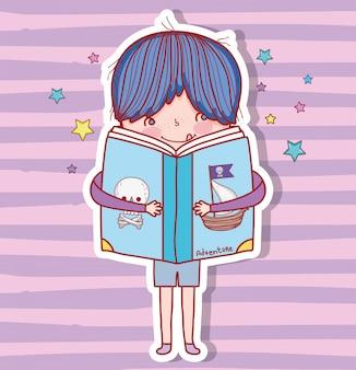 Garçon avec livre d'éducation pour étudier et apprendre