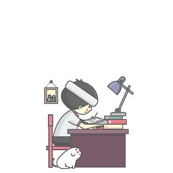 Garçon et le livre de lecture de chien pour l'examen illustration vectorielle de l'éducation
