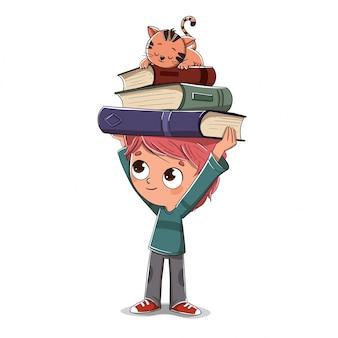 Garçon avec des livres et un chat qui dort