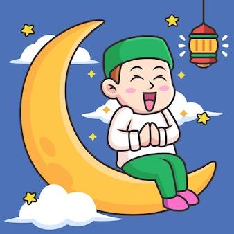 Garçon, à, lune, dessin animé