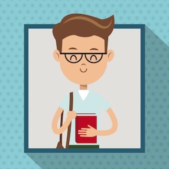 Garçon avec lunettes livre étudiant cadre dot ombre fond