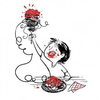 Garçon, manger, spaghetti, à, tomate