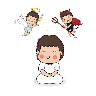 Un garçon méditant en tenue blanche