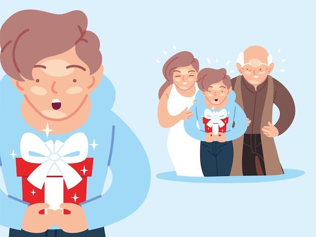 Garçon avec mère et grand-père dessins animés cadeau d'ouverture, joyeux anniversaire fête décoration fête illustration thème festif et surprise