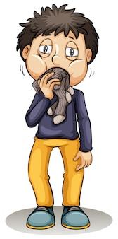 Un garçon met une chaussette dans la bouche