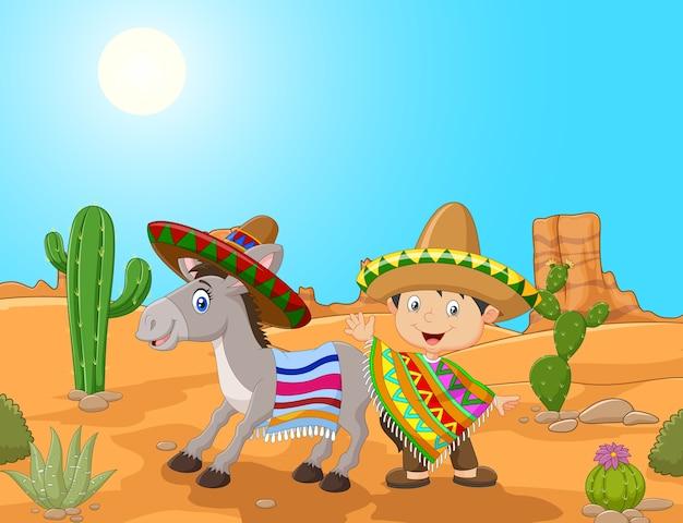 Garçon mexicain de dessin animé avec un âne dans le fond du désert