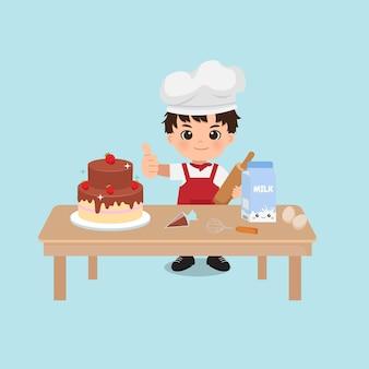 Garçon mignon de chef faisant cuire un gâteau