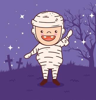 Garçon mignon déguisé de maman pour la célébration de l'halloween heureux dans la conception d'illustration vectorielle nuit noire