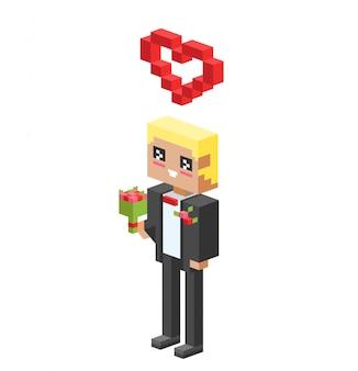 Garçon mignon dessin animé avec illustration vectorielle coeur