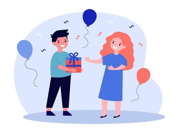 Garçon mignon donnant un cadeau à la petite fille. kid, présent, illustration vectorielle plane boîte