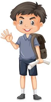 Garçon mignon avec du papier et un sac à dos sur blanc