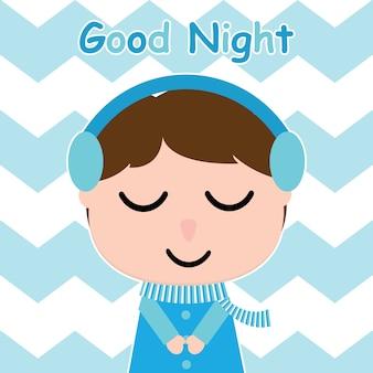 Un garçon mignon est à l'écoute de la musique sur un carton vectoriel à fond rayé pour carte postale pour enfant et mur de pépinière, t-shirt design pour enfant, illustration vectorielle