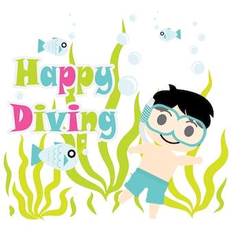 Un garçon mignon fait de la plongée sur la bande dessinée du vecteur de la mer, carte postale d'été, fond d'écran et carte de voeux, design du t-shirt pour les enfants