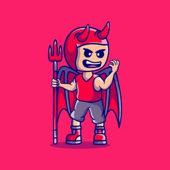 Garçon mignon d'halloween utilisant le costume de diable