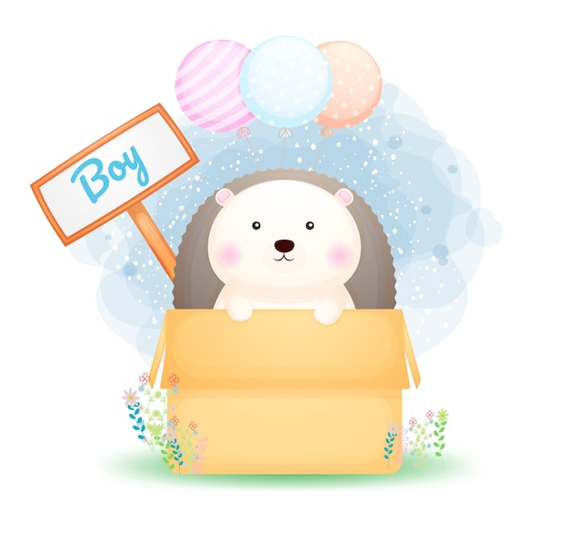 Garçon mignon hérisson doodle dans le personnage de dessin animé de boîte
