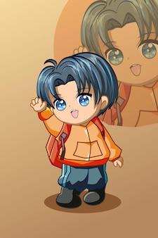 Un garçon mignon avec l'illustration de dessin animé de caractère de paquet