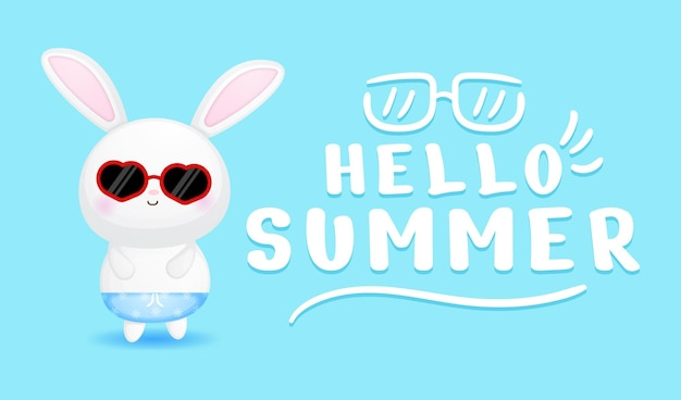 Garçon mignon de lapin avec la bannière de salutation d'été