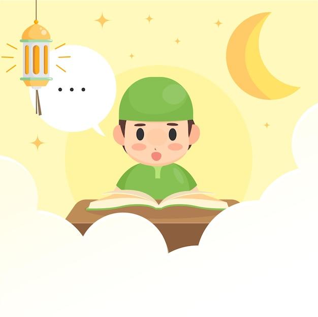Garçon mignon lisant al coran sur le ramadan