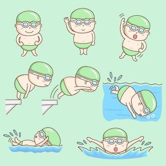 Garçon mignon en personnage de dessin animé de maillots de bain.