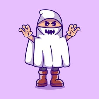 Garçon mignon portant un costume d'halloween fantôme