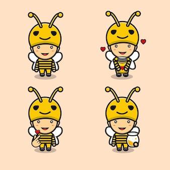 Garçon mignon portant un dessin animé de costume d'abeille