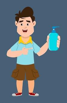 Garçon mignon portant un masque facial et montrant une bouteille de gel d'alcool. covid-19 ou illustration de concept de coronavirus