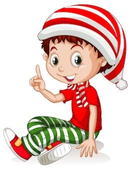 Garçon mignon portant le personnage de dessin animé de costumes de noël