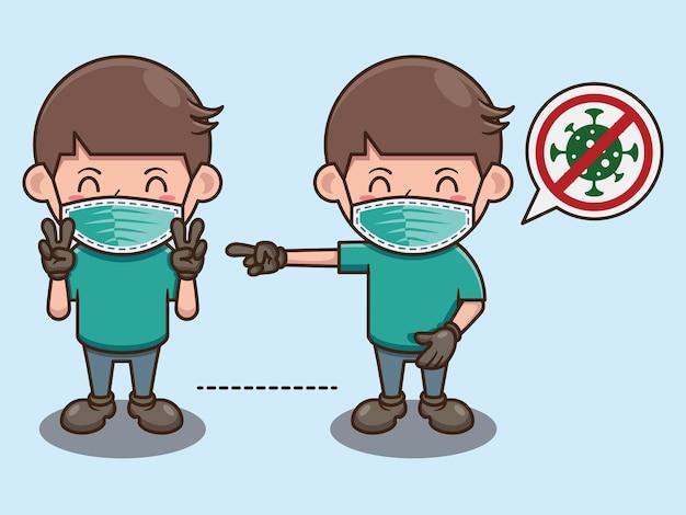 Garçon mignon pratiquant la conception de dessin animé de coronavirus de distanciation sociale