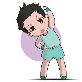 Garçon mignon réchauffer le personnage de dessin animé.