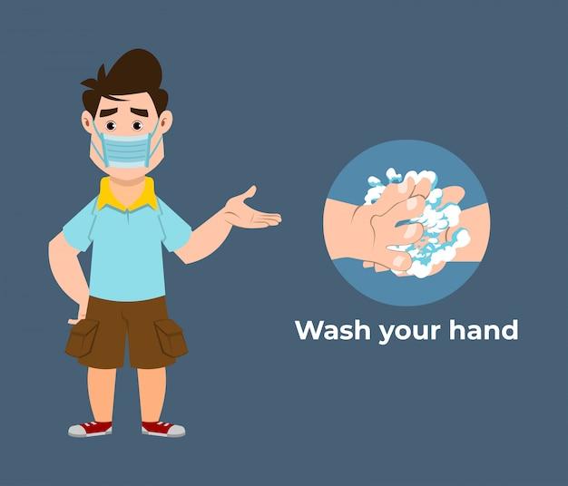 Un garçon mignon recommande de prévenir les virus en se lavant les mains