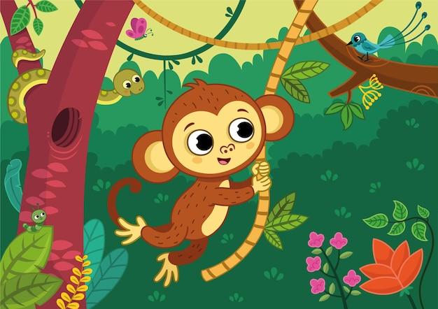 Garçon mignon de singe se balançant sur une vigne dans la jungle illustration vectorielle