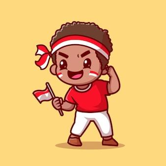 Garçon mignon tenant le drapeau indonésien cartoon vector icon illustration. concept d'icône de vacances personnes isolé vecteur premium. style de dessin animé plat