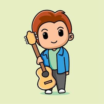 Garçon mignon tenant illustration de dessin animé de guitare acoustique