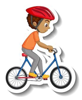 Un garçon montant un autocollant de personnage de dessin animé de vélo