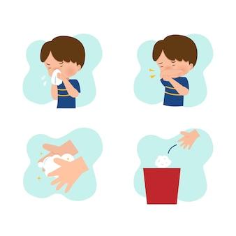 Garçon montrant l'étiquette de la toux et de l'éternuement dans un lieu public. conseils d'illustration pour la prévention des coronavirus. caricature de vecteur de style plat isolé sur blanc.