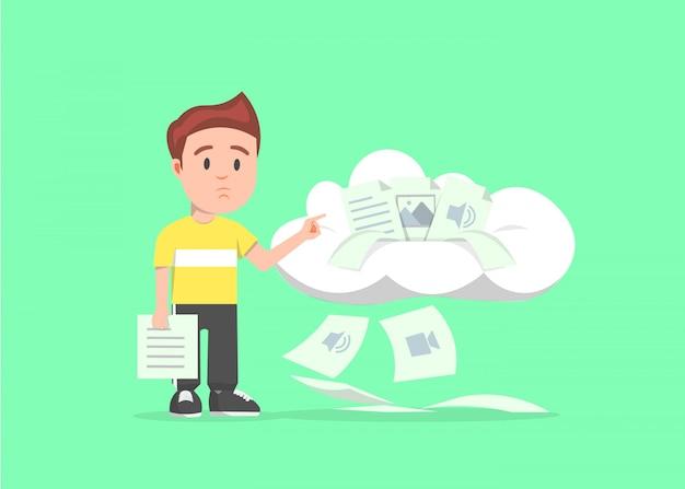 Un garçon montre le stockage dans le cloud qui est déjà plein