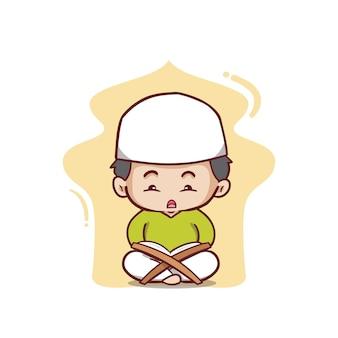 Garçon musulman lisant l'al quran