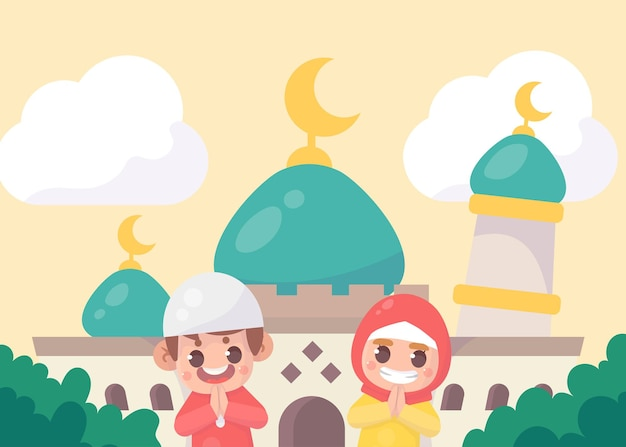 Garçon musulman mignon et fille saluant ramadan kareem eid al fitr islamique