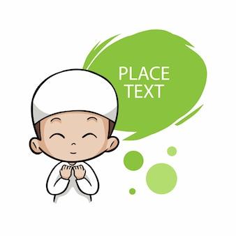 Un garçon musulman mignon prie