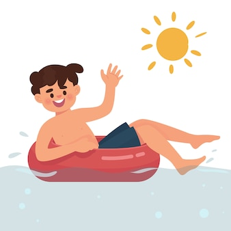 Garçon nageant dans une piscine
