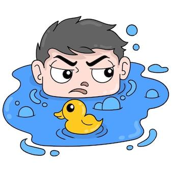 Garçon paresseux trempant dans l'eau avec un canard jouet, art d'illustration vectorielle. doodle icône image kawaii.